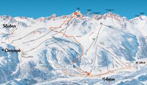 Pistenplan vom Skigebiet Arlberg