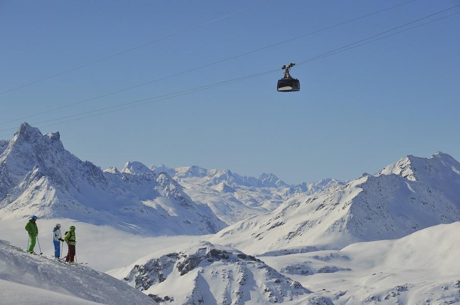 Das Skigebiet Arlberg mit der Vallugabahn
