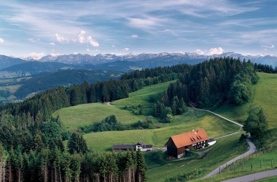Sommerlicher Ausblick über den Bregenzerwald im Vorarlberg